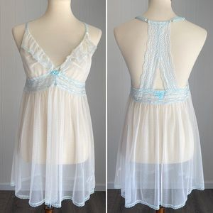 Sweet Betsey Johnson Shortie Nightgown Ivory Mint